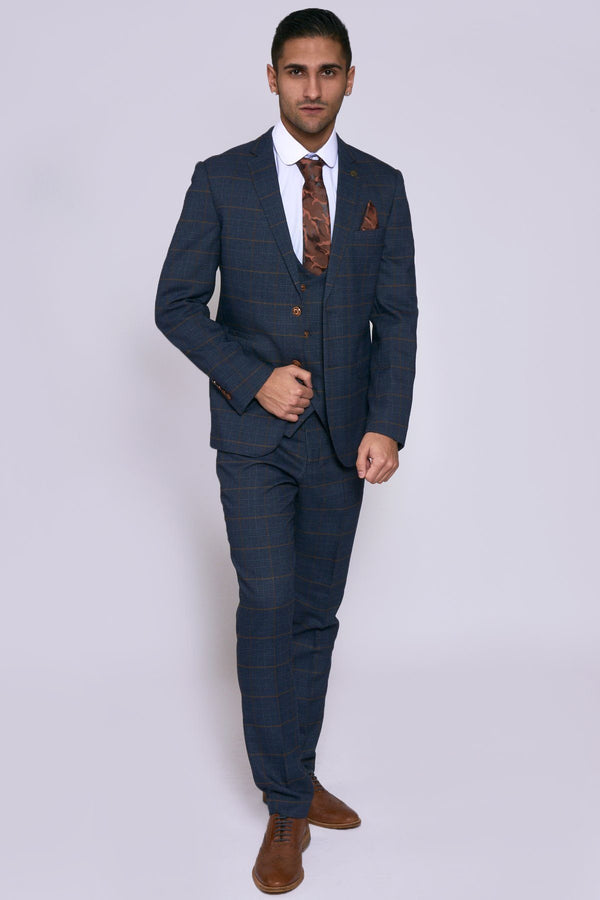 Jenson Navy Check Suit With Double Breasted Waistcoat | Marc Darcy
