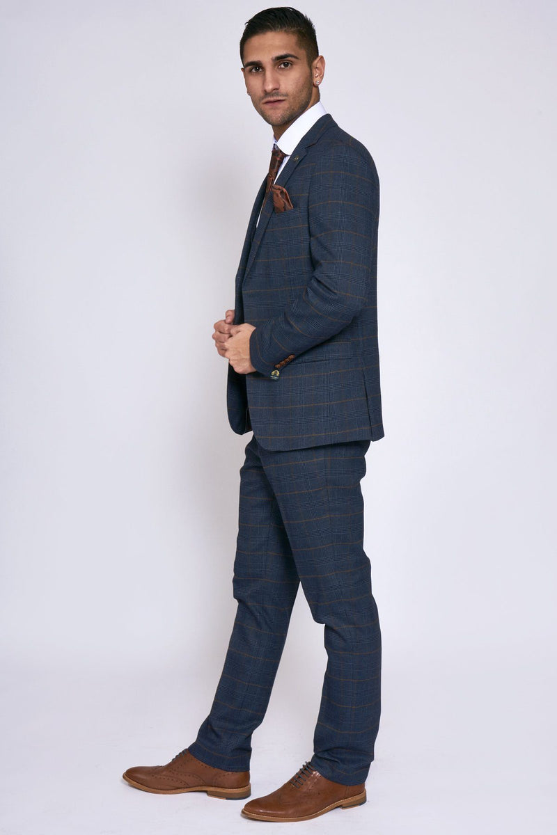 Blue Check Wedding Suits | Mens Navy Wedding Suits ! Mens Tweed Suits