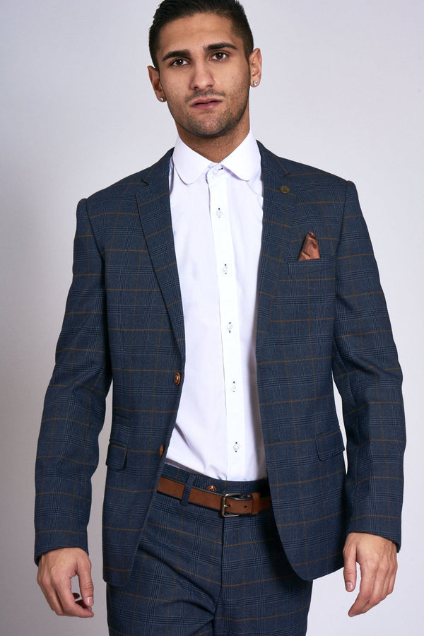 Jenson Navy Check Blazer | Marc Darcy - Mens Tweed Suits
