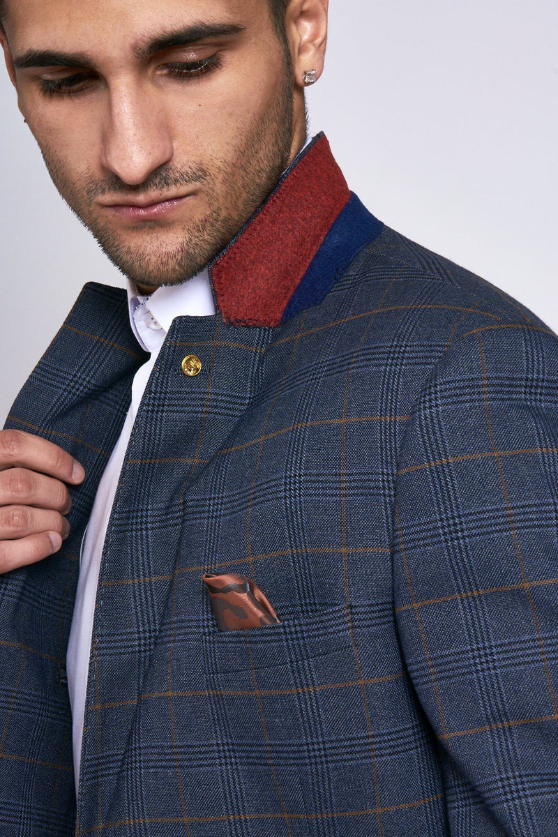 Jenson Navy Check Suit | Marc Darcy - Mens Tweed Suits