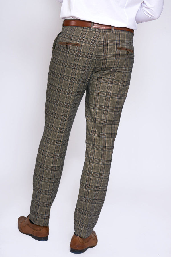 Enzo Tan Check Tweed Trousers - Mens Tweed Suits