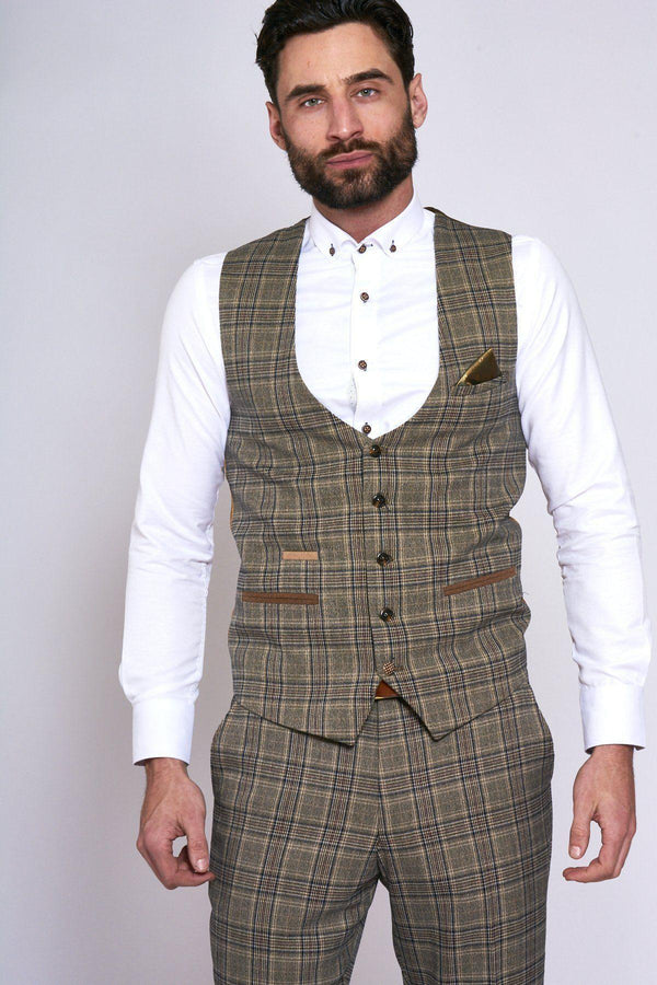 ENZO TAN CHECK TWEED JACKET AND WAISTCOAT SET - Mens Tweed Suits