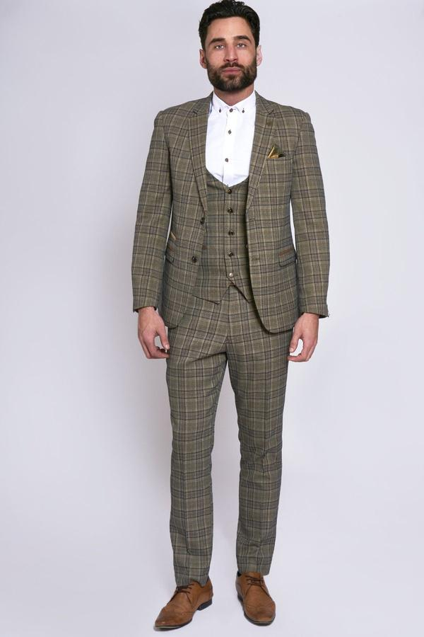 Enzo Brown Check Tweed Wedding Suit - Mens Tweed Suits