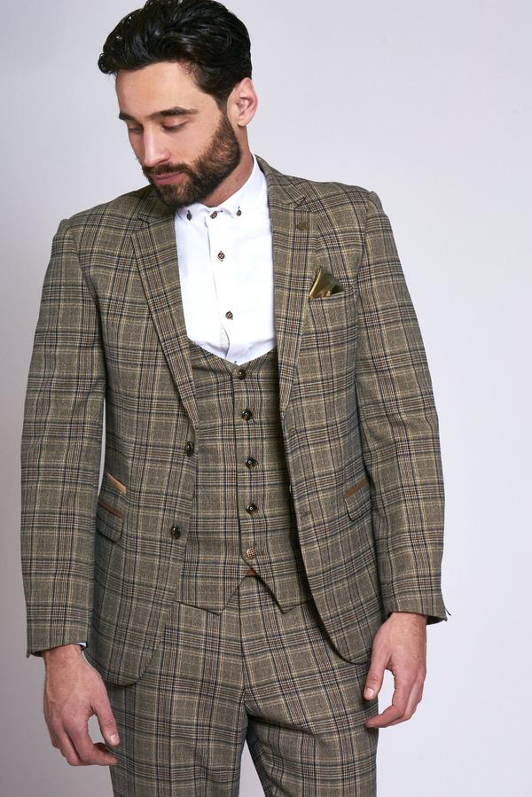 Enzo Tan Check Tweed Peaky Blinder Suit - Mens Tweed Suits