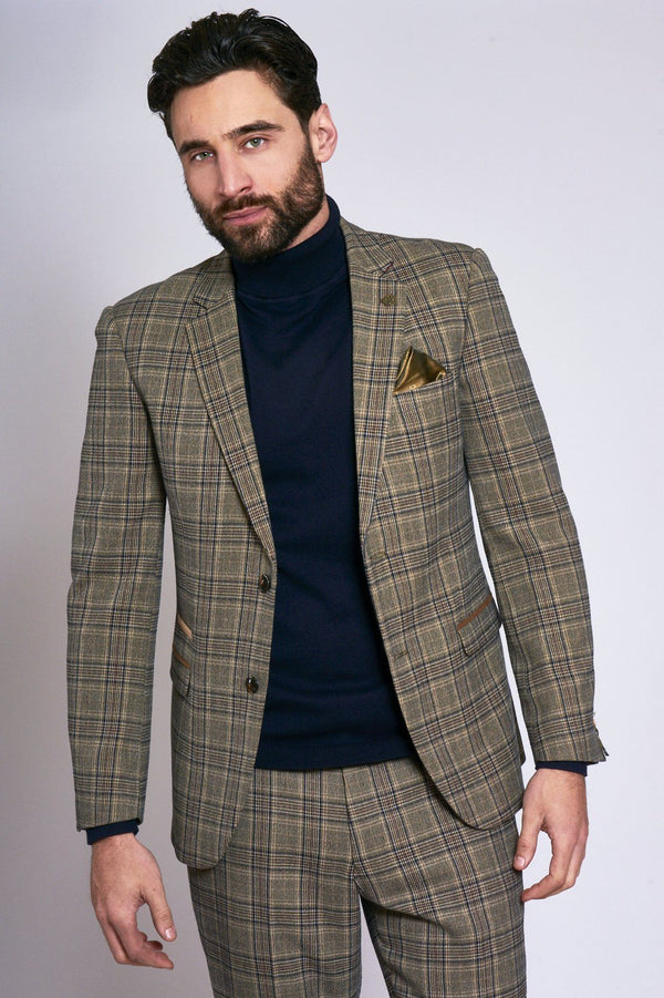 Enzo Tan Tweed Check Blazer - Mens Tweed Suits