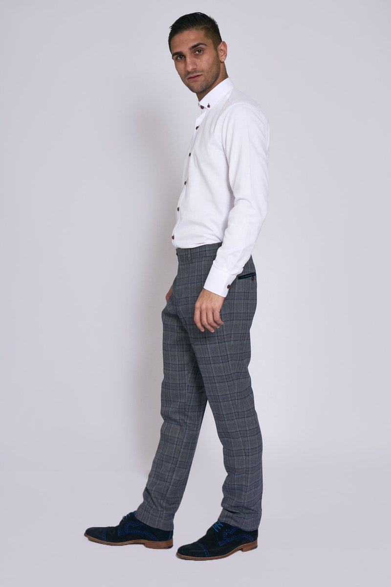 Enzo Grey Blue Check Tweed Trousers - Mens Tweed Suits