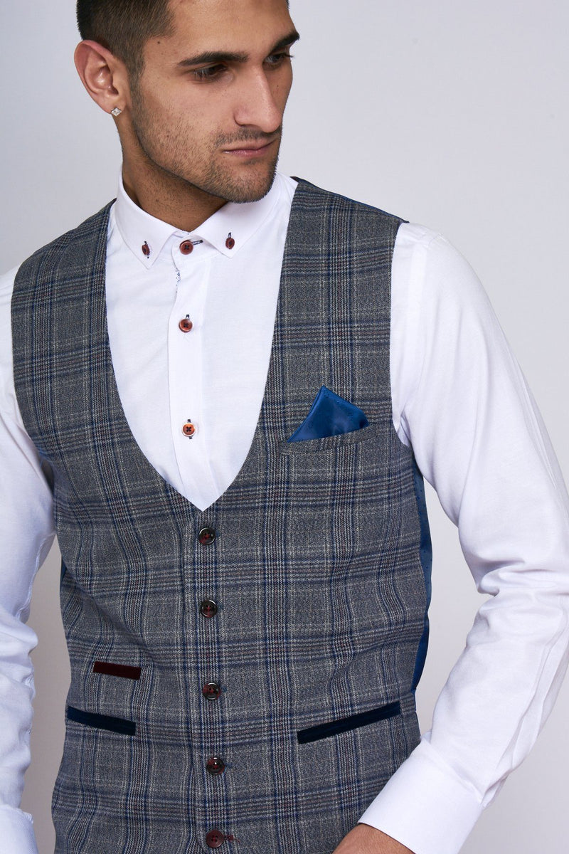 Enzo Grey Blue Check Tweed Single Breasted Waistcoat | Marc Darcy | Mens Tweed Suits