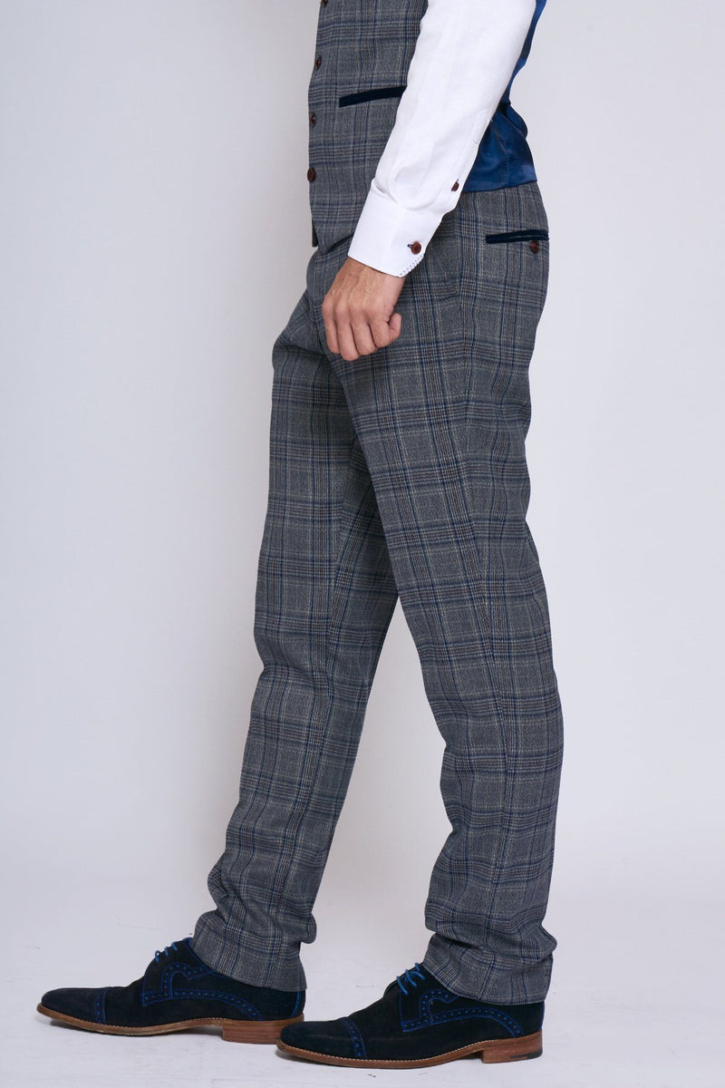 Enzo Grey Blue Check Tweed Trousers | Marc Darcy | Mens Tweed Suits