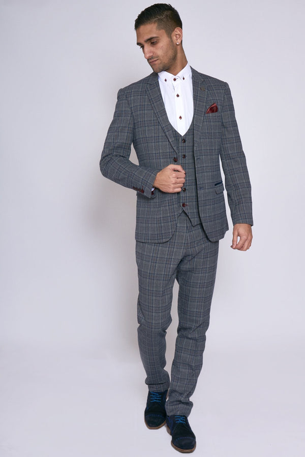 Enzo Grey Blue Tweed Check Three Piece Suit | Marc Darcy - Mens Tweed Suits