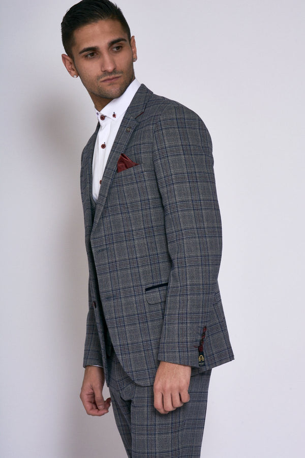 Enzo Grey Blue Check Three Piece Tweed Wedding Suit - Mens Tweed Suits