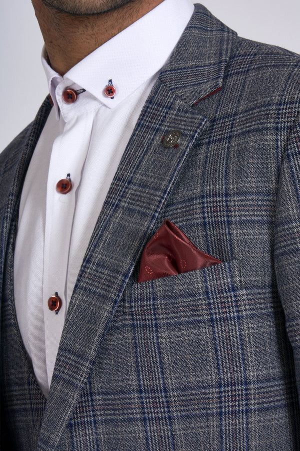 Grey and Blue Tweed Check Three Piece Suit | Marc Darcy | Mens Tweed Suits