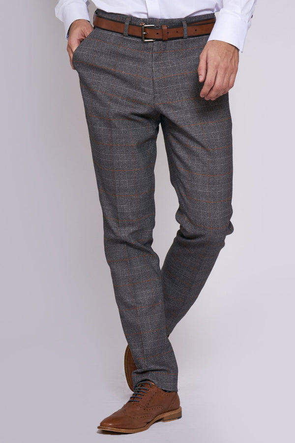 Jenson Grey Check Trousers | Marc Darcy - Mens Tweed Suits
