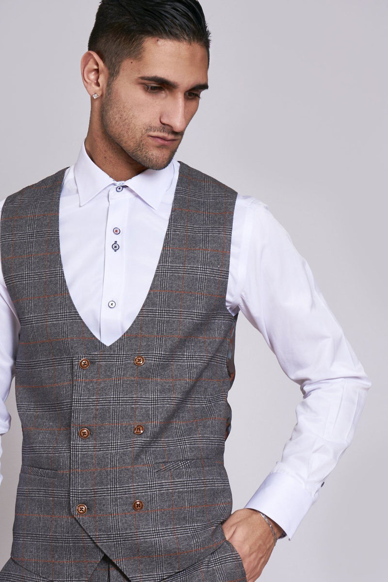 Jenson Grey Check Waistcoat | Marc Darcy - Mens Tweed Suits