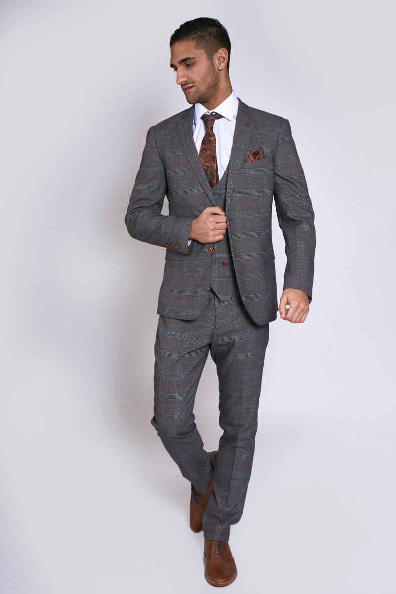 Jenson Grey Check Wedding Suit - Mens Tweed Suits