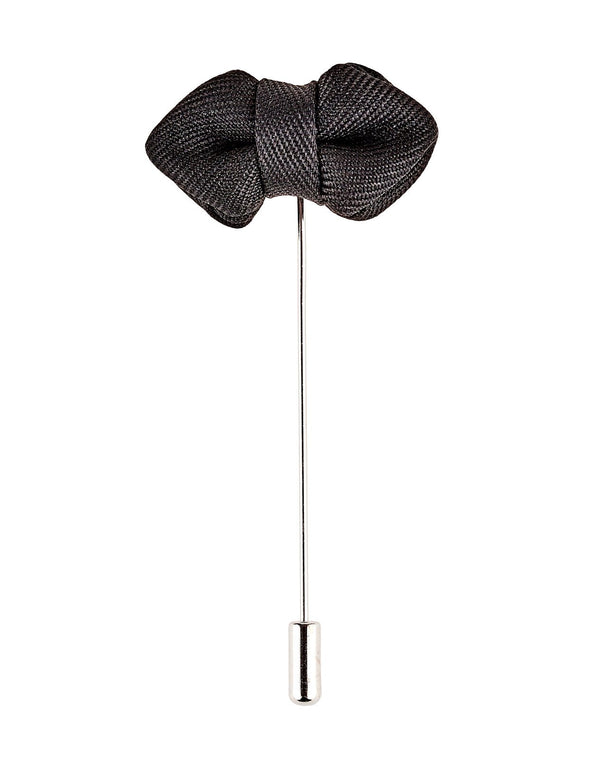 Black Bow Tie Lapel Pin - Mens Tweed Suits