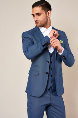 Danny Blue Three Piece Summer Wedding Suit - Mens Tweed Suits