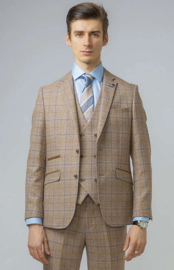 Mens Brown Tweed Suit | Robert Simon Suits | Mens Tweed Suits