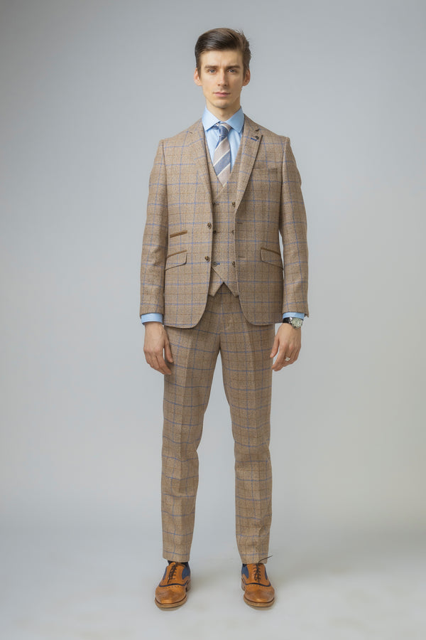 David Brown Double Breasted Waistcoat Check Tweed Suit