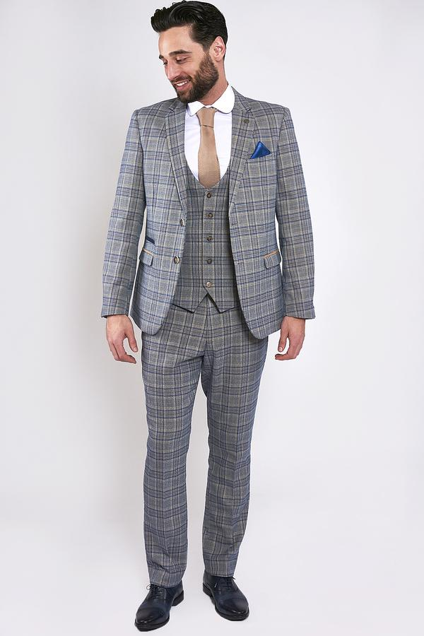 Enzo Blue Stone Tweed Check Three Piece Suit | Marc Darcy - Mens Tweed Suits