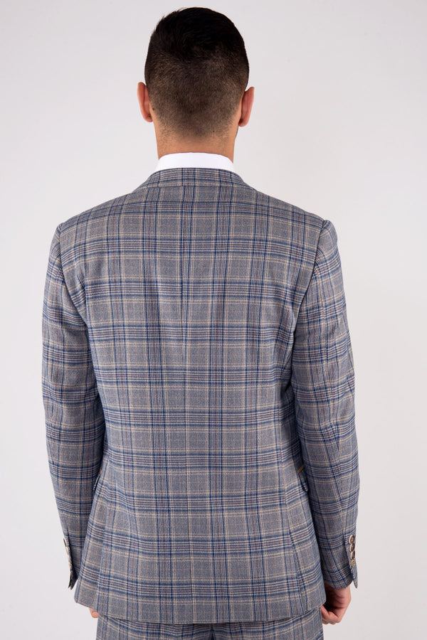 Enzo Sky Stone Stone Tweed Check Blazer - Mens Tweed Suits