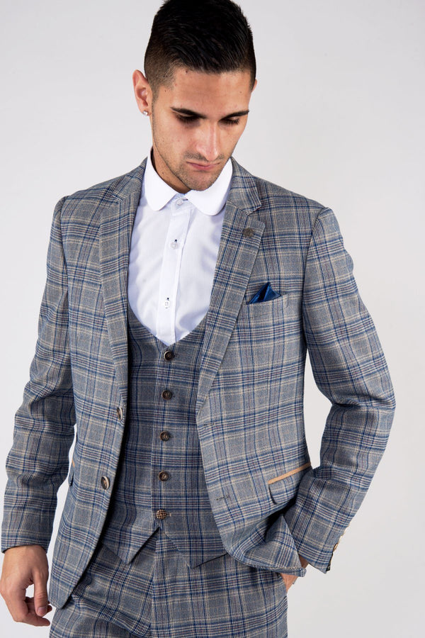 Enzo Blue Stone Tweed Check Blazer | Marc Darcy | Mens Tweed Suits