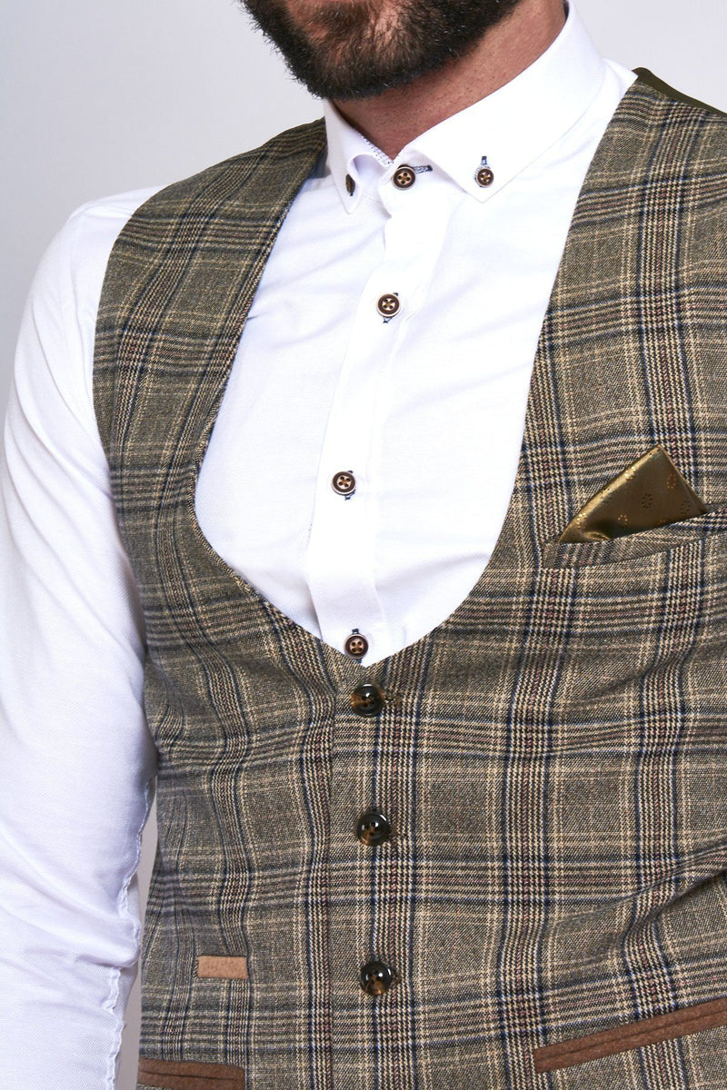 Enzo Tan Check Tweed Single Breasted Waistcoat - Mens Tweed Suits