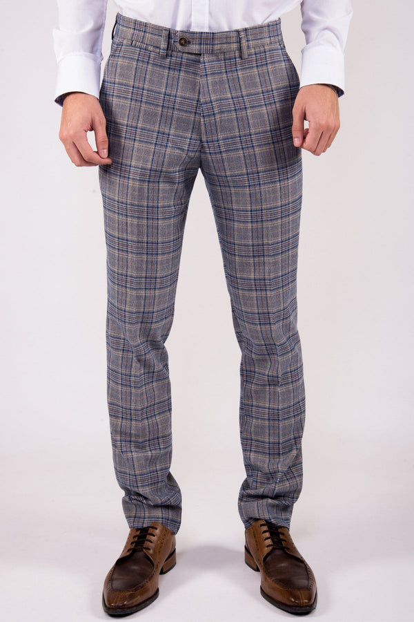 Enzo Blue Stone Check Tweed Trousers | Marc Darcy - Mens Tweed Suits