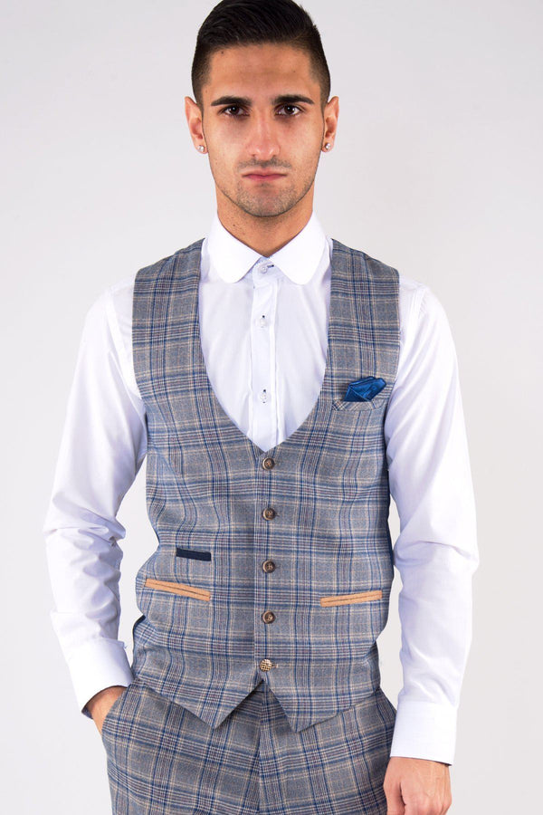 Enzo Sky Stone Check Tweed Waistcoat - Mens Tweed Suits