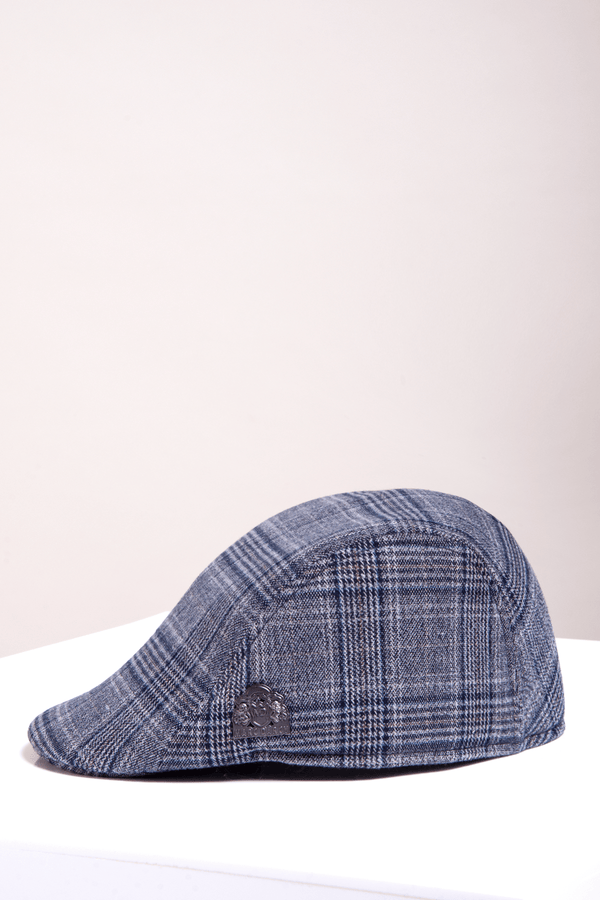 Enzo Blue Grey Tweed Flat Cap - Mens Tweed Suits