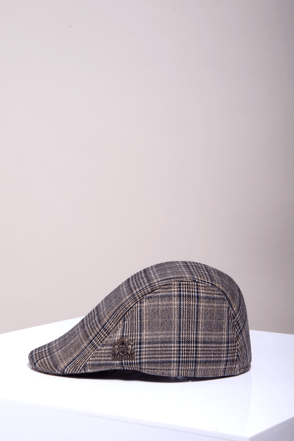 Enzo Tan Tweed Flat Cap - Mens Tweed Suits