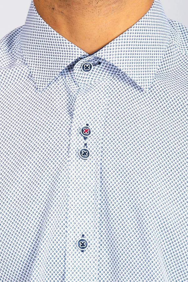 FRED - Navy Circle Print Long Sleeve Shirt | Marc Darcy 2019 2020 menstweedsuits.com