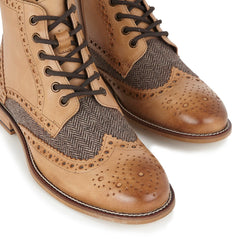 London Brogues Tan Tweed Boots | Mens Tweed Shoes | Mens Tweed Suits