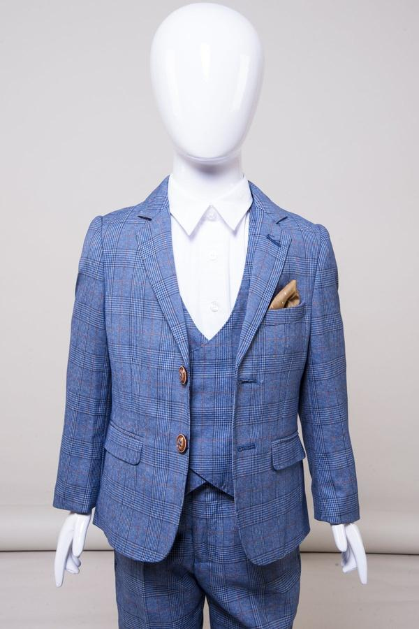 George Boys Light Blue Check Suit by Marc Darcy | Mens Tweed Suits