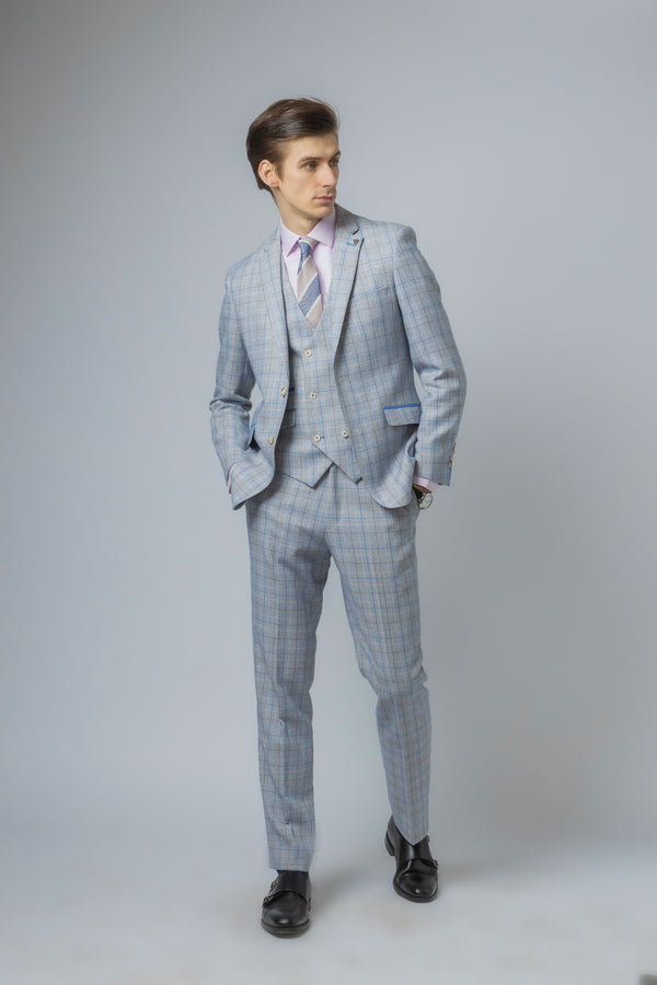 Gabrielle Sky Blue Grey Double Breasted Waistcoat Tweed Suit