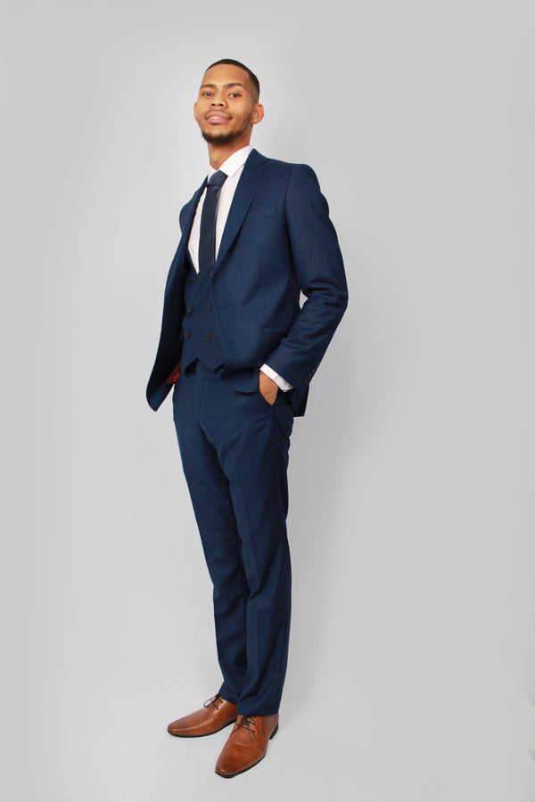 Navy Plain Mens Wedding Suit by Toni Floretti | Menstweedsuits