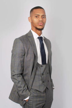 Mens Grey Check Wedding Suit by Floretti | Menstweedsuits