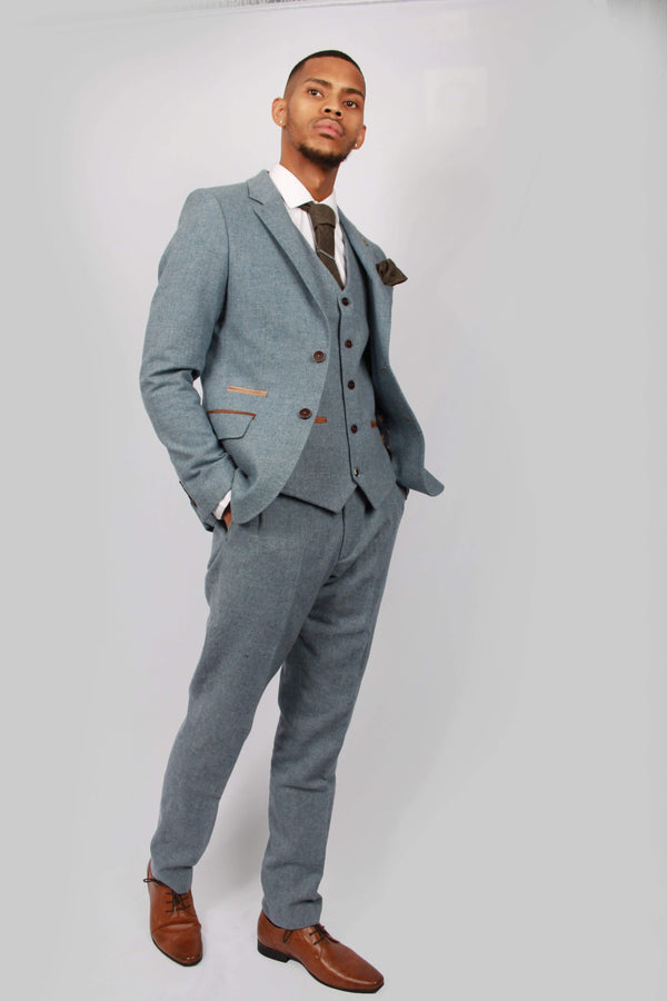 Kaos Blue Tweed Trousers | Paul Andrew | Mens Tweed Suits shop buy menstweedsuits.com fashion 2018 2019 london