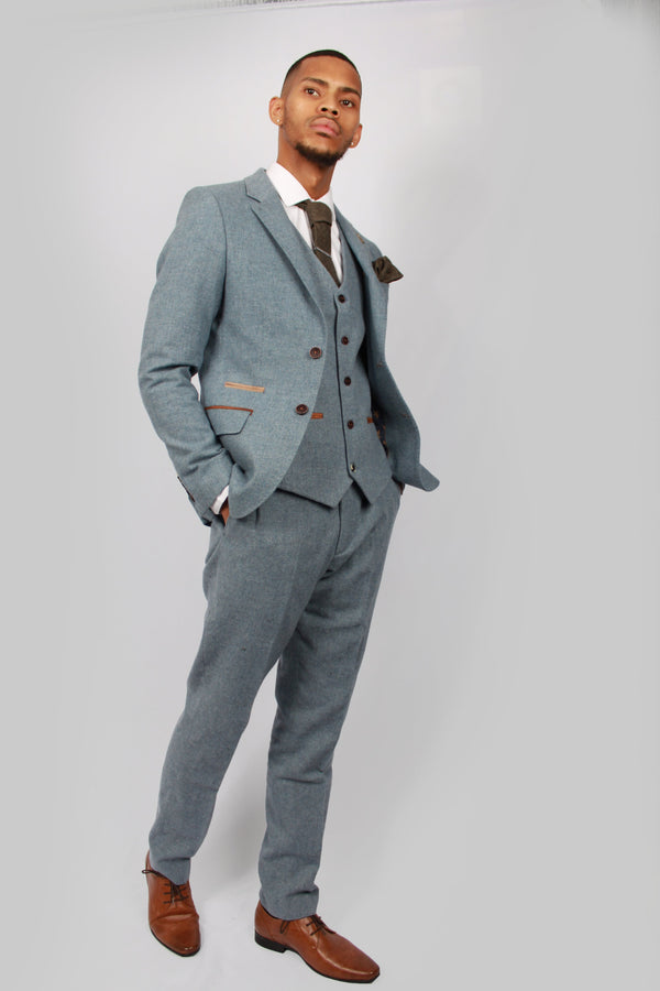 Kaos Blue Tweed Suit | Fratelli Uniti - Mens Tweed Suits