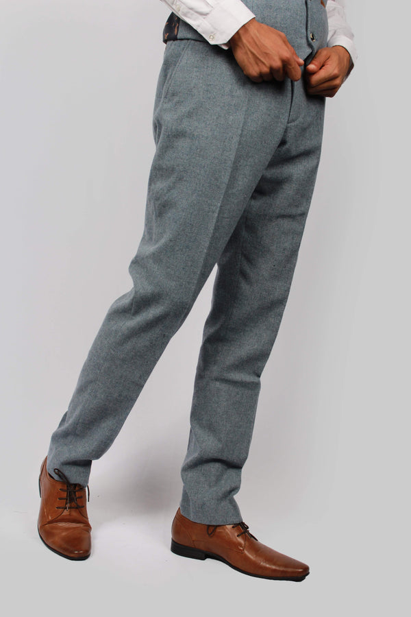 Kaos Blue Tweed Trousers | Paul Andrew | Mens Tweed Suits