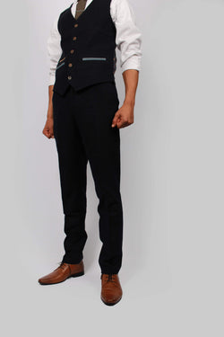 Mario Navy Tweed Trousers | Fratelli Uniti - Mens Tweed Suits