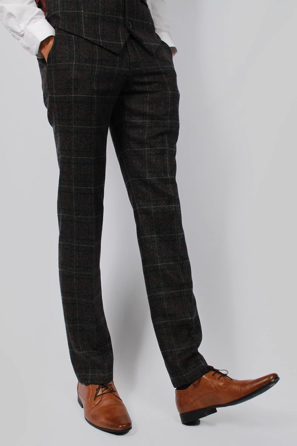 Harvey Grey Tweed Trouser | Paul Andrew - Mens Tweed Suits