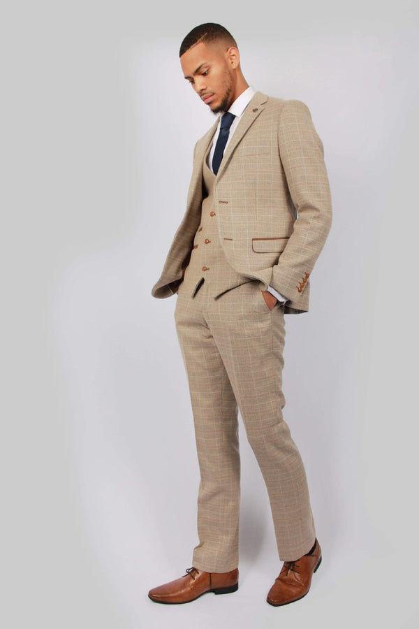 Cream, Beige Mens Tweed Suit by Paul Andrew | Menstweedsuits