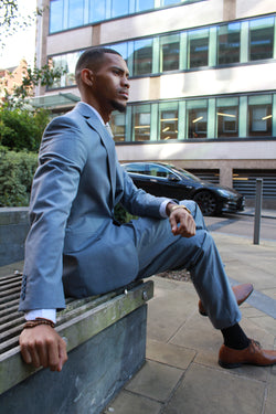 Silva Light Blue Summer Suit by Toni Floretti | Mens Tweed Suits