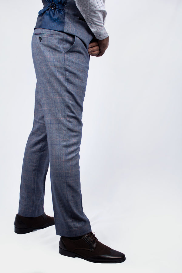 Hilton Blue Tweed Check Trousers | Marc Darcy - Mens Tweed Suits