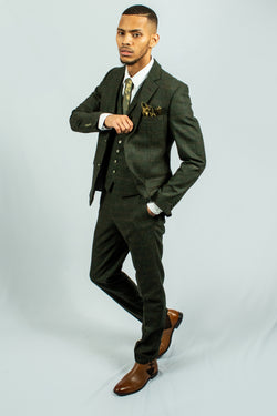 Capri Green Check Tweed Suit | Robert Simon - Mens Tweed Suits