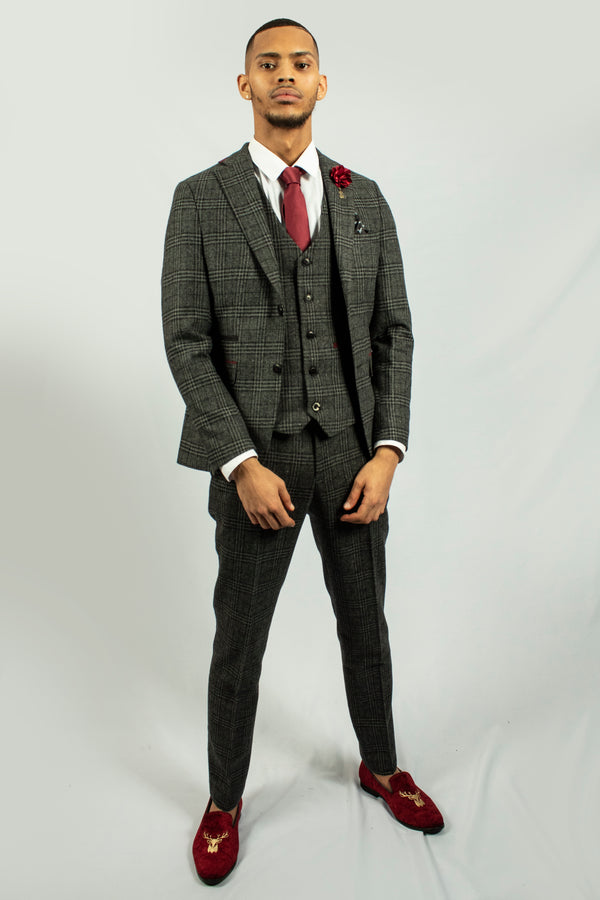 Darby Grey Tweed Check Blazer by Fratelli | Mens Tweed Suits