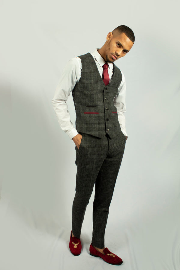 Darby Grey Tweed Check Waistcoat | Fratelli - Mens Tweed Suits