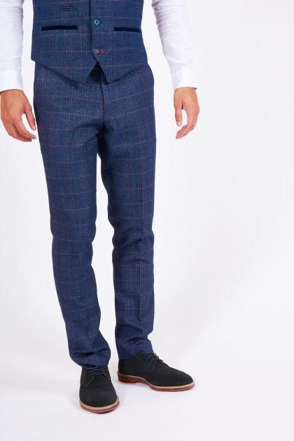 Harry Indigo Check Tweed Trousers | Marc Darcy - Mens Tweed Suits