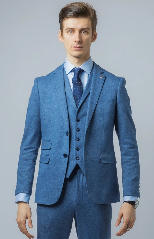 Mens Sky Blue Wedding Suit | Robert Simon Suits | Mens Tweed Suits