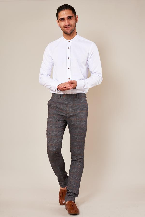 Jenson Grey Check Skinny Fit Trousers | Marc Darcy - Mens Tweed Suits